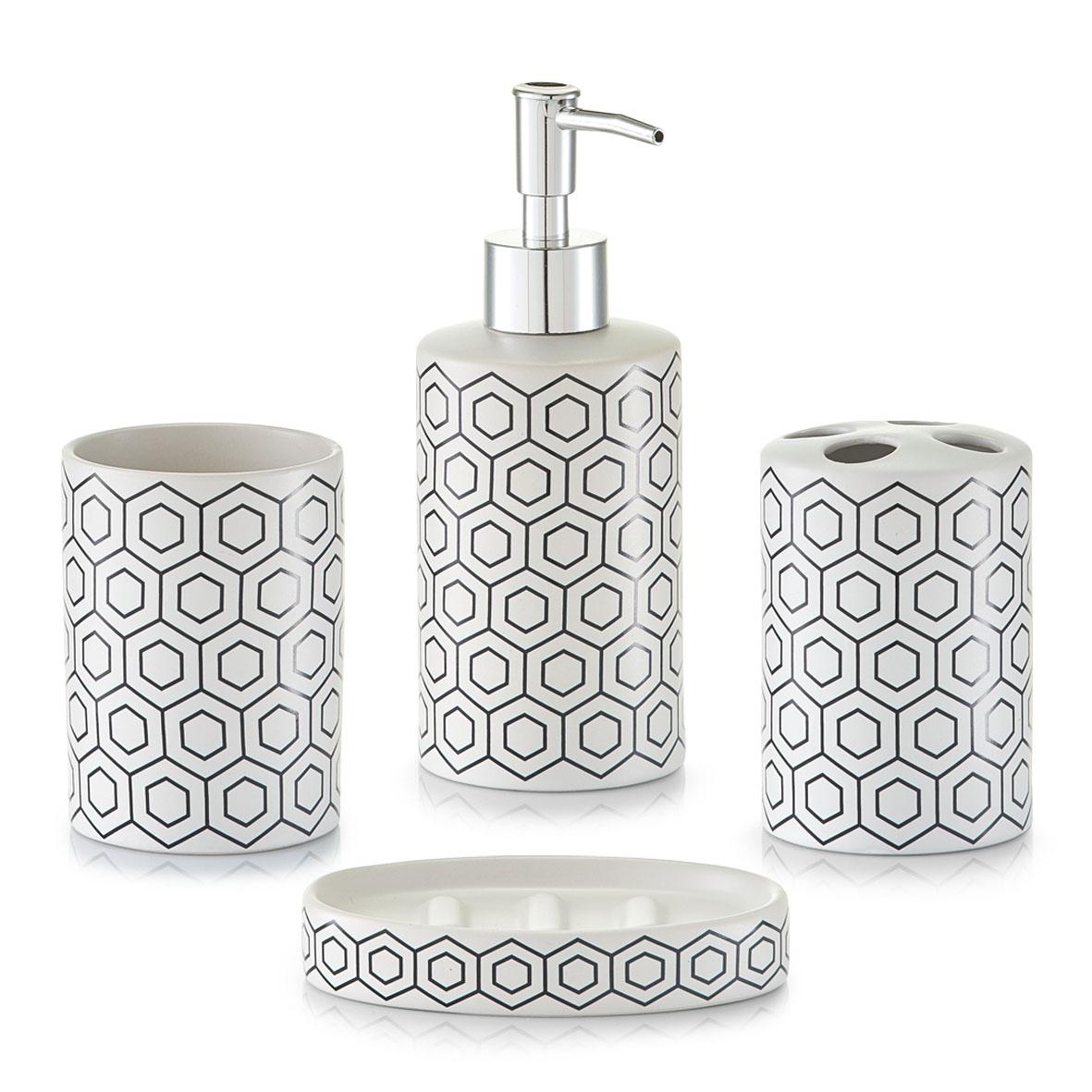 Koupelnová sada, vzor plástev, bílá, Zeller