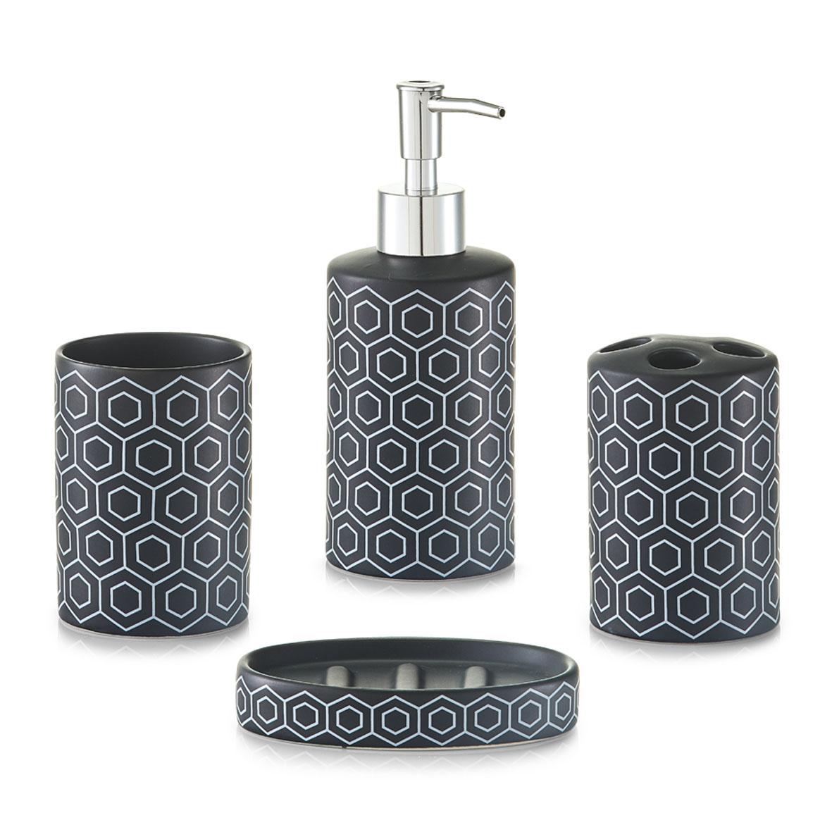 Koupelnová sada, vzor plástev, černá, Zeller