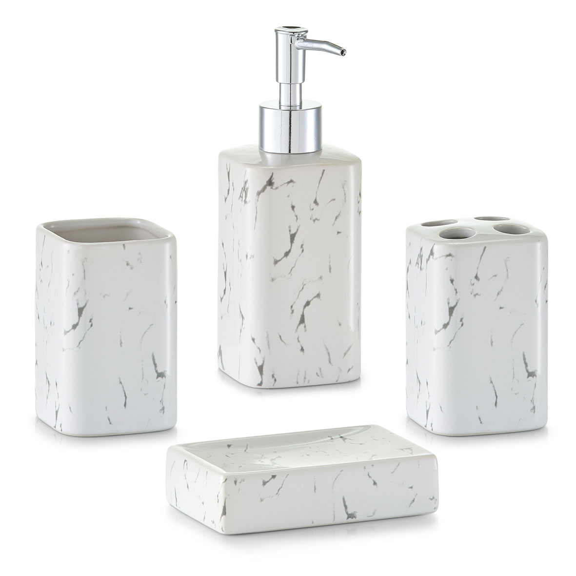 Koupelnová sada, vzhled mramor, bílá, Zeller