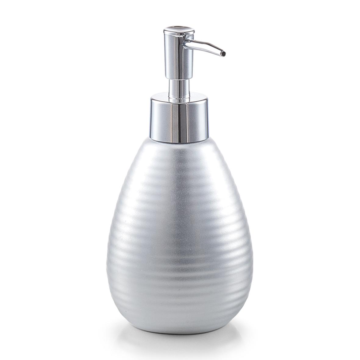 """Zeller, Dávkovač na mýdlo """"NOVA"""" stříbrný, keramika, 320 ml"""